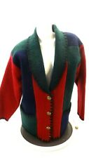 NWT VINTAGE GORGEOUS BELLEPOINTE BOILED WOOL COLOR BLOCK CARDIGAN JACKET SIZE M