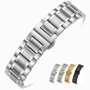 Acier Inoxydable Bracelet de Montre Métal Bracelet Fermoir Papillon 14mm-24mm