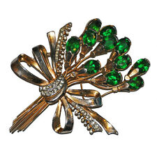 Fabulous Vintage Unsigned Staret Green Rhinestone Spray Flower brooch