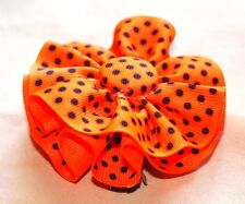 """Neon Orange w/ black dots Round Hair Bow on a 3"""" bow clip barrette new, perfect"""