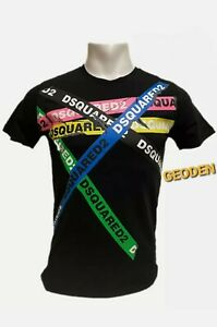 DSQUARED2 Tape Design T Shirt Black & White Exclusive offer FREE FAST DELIVERY