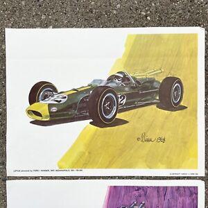 VINTAGE INDIANAPOLIS 500 RACE CARS ART Prints Set Of Four 1965 By Harvey J Winn