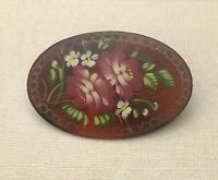 Vintage  Russian Lacquer Floral  Brooch