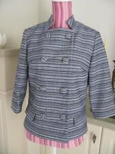 Genuine Vintage 1960's jacket dble breasted retro blue black uneven stripe