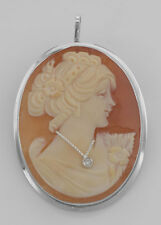 Hand Carved Cameo Pin / Pendant with Diamond Necklace - Sterling. Lot 20161179