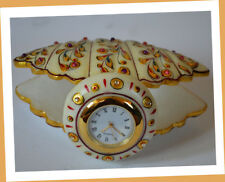 Marble Hand Painted Pure Gold Leaf Design Clock, Desk Table Clock From India