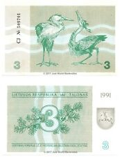 Lithuania 3 Talonas 1991 P-33 Banknotes UNC