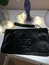 Tory Burch Bombe Reva Clutch/Shoulder Bag - Black with gold chain.
