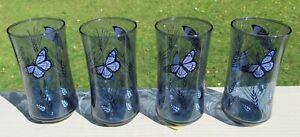 Four Libbey BLUE MONARCH Butterfly 12 Oz Tumblers NOS Blue & Purple RARE!