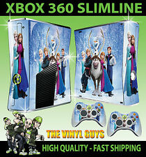 XBOX 360 SLIM STICKER FROZEN CHARACTERS ELSA ANNA SKIN & 2 CONTROLLER PAD SKINS