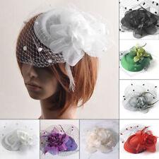 Organza Feder Mini Hut Haarklammer Haarcs Haarspange Blau