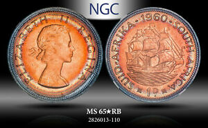 1960 SOUTH AFRICA PENNY NGC MS65* STAR RB BEAUTIFULLY TONED