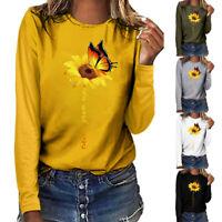 Fashion Women Plus Size Print O-Neck Long Sleeved T-shirt Blouse Autumn Tops