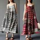 UK femme été en vrac Grande bretelles fines coton lin long robe Maxi de soleil