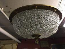 Große Deckenlampe Plafoniere mit Französichen Kristall Steinen Bronze Rahmen