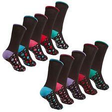 Womens Cottonique Ladies 5 Pack Cotton Rich Socks 4-8 Coloured Heel & Toe