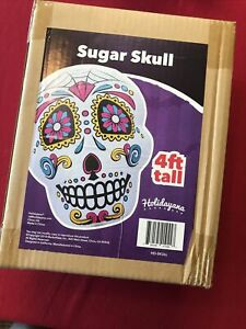 Holidayana 4 Foot Halloween Inflatable Colorful Sugar Skull Decor Dia de Muertos