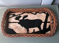Vintage Reverse Painted Glass Wicker Wood Tray Moose Adirondacks Cabin Decor