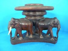 ELEPHANT WOODEN 3 LEGGED TRAY HOLDER OR SERVING TABLE & COASTER