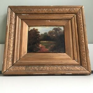 Antique Original Oil Painting Gold Distressed Framed Picture Countryside Farming
