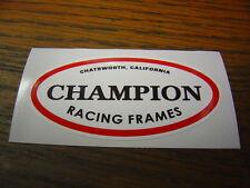 Champion Racing Frames Chatsworth CA Head Tube Decal Sticker BMX Flat Track Oval