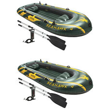 Intex Seahawk 4 Inflatable 4 Person Boat Raft Set with Oars & Air Pump (2 Pack)