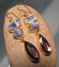 18K Gold plated brass 14gr rough kyanite/tanzanite/hydro-glass earrings.