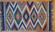 Kilim Rug Hand Made 90x150cm Natural Jute Wool Indian Beige Maroon Diamond 3501