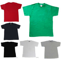 NEW Mens Womens Plain HEAVY COTTON T-SHIRT White Black Navy Grey sizes XS-2XL FP