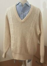 Vtg ladies cable knit Aarn ribbed v neck cream jumper st Michael pure wool 42