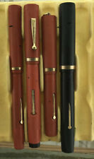 Red And Black Hard Rubber Fountain Pen Lot Newark Secretary Incomplete New Stock