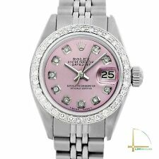 Rolex Lady Datejust 26mm Stainless Steel Watch Ice Pink Diamond Dial and Bezel