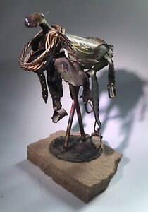 Jay L Tschudy Handcrafted Metal Art Sculpture Western Saddle SIGNED