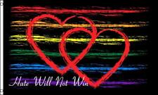 Hate Will Not Win Rainbow Hearts 3X5 Flag Fl750 3 X 5 hanging polyester flags