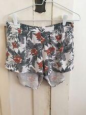 Stussy - Ladies Flower White Green and Orange Shorts - Size 8