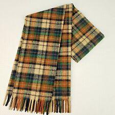 """Pendleton Tartan Plaid Green Brown Fringe Scarf Wool Made USA Vintage 50"""" x 12"""""""