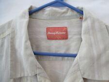 Tommy Bahama Men's Beige Textured Silk Button Front Shirt - Size XL