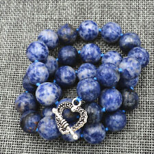 new12mm natural lapis lazuli gemstone necklace Tibetan silver love clasps