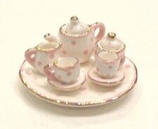 Pink and White Polka Dot Design Porcelain Children's 10 pc. Tiny Tea Party Set