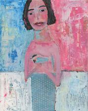 Original 8x10 Girl Bird OOAK Figure Painting by Katie Jeanne Wood
