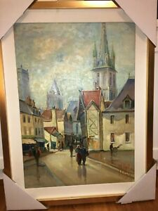 Original KPS Signed Gothic Church & City Life Hand Painted Oil on Canvas Antique