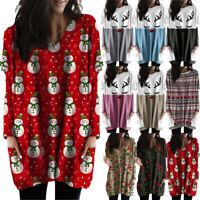 Plus Size Women Baggy Long Tops Sweater Pullover Ladies Pocket Jumper Mini Dress