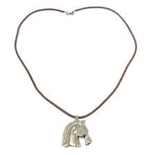HERMES BIJOUTERIE FANTAISIE Horse Motif Pendant Necklace Silver Brown 02644