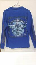 Sturgis 69th Annual Harley Davidson Motorcycle Rally Blue Longsleeve Sz M