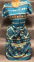 LulaRoe Marly Dress Beautiful Teal Aztec Print