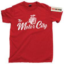 The Motor City Detroit Michigan Pontiac Red Wings V8 V6 engine GM tee t shirt
