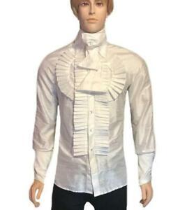 Men/'s Band Collar  Silk Charmeuse Raglan Sleeve Shirt
