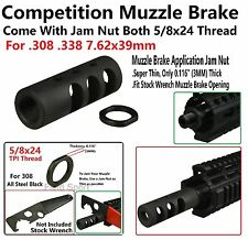 5/8x24 Thread Competition Muzzle Brake For .308 .338 7.62x39 With Jam Nut 1/2x28
