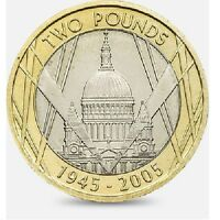 2005 £2 60TH  SAINT PAUL'S CATHEDRAL WWII POUND COIN HUNT 10/32 RARE pauls 2 xx