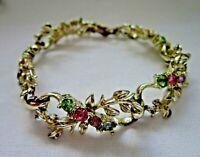 Beautiful vintage jewellery 1950s rainbow crystal gold tone  bracelet Jewelcraft